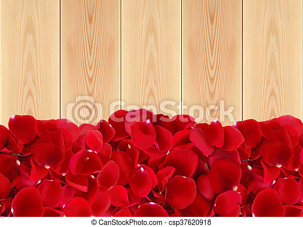beautiful red rose petals on wooden background - csp37620918