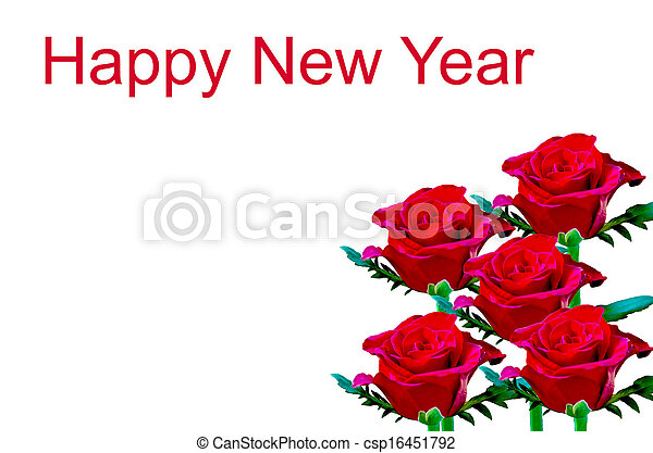 Beautiful red rose write happy new year on white background.