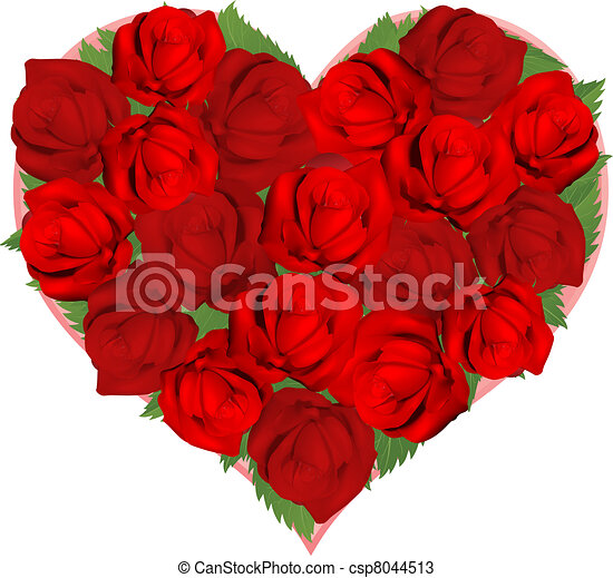 Beautiful red roses in heart shape - csp8044513