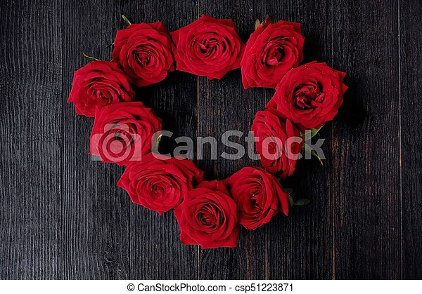 Beautiful red roses on a dark brown background - csp51223871