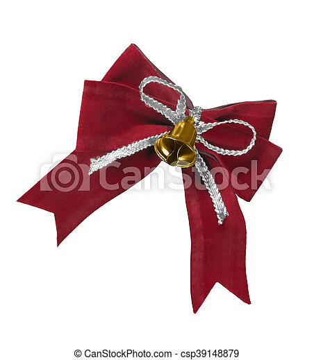 Beautiful red satin gift bow, isolated on white - csp39148879