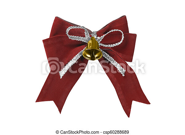 Beautiful red satin gift bow, isolated on white - csp60288689
