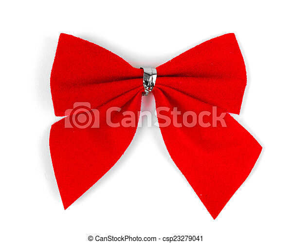 Beautiful red satin gift bow, - csp23279041