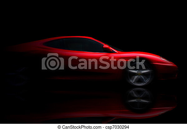 Beautiful red sport car on black - csp7030294