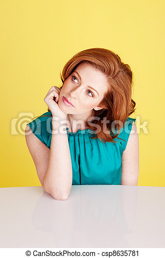 Beautiful Redhead Woman Thinking - csp8635781