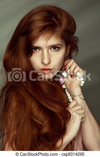 Variant, beautiful redhead girls with freckles