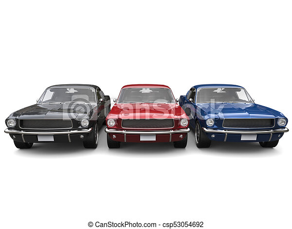 Beautiful Restored Vintage American Muscle Cars Blue Red And Black