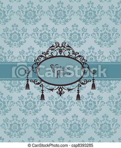 Beautiful Retro Card - for invitation, greetings, congratulation, wedding in vector - csp8393285