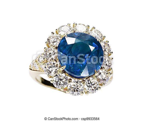 beautiful ring with blue gem isolated on white - csp9933564