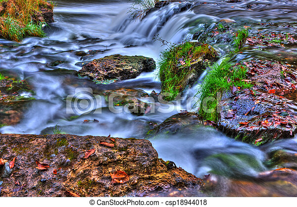 Beautiful River Waterfall in HDR High Dynamic Range - csp18944018