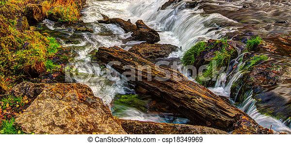 Beautiful River Waterfall in HDR High Dynamic Range - csp18349969