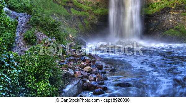 Beautiful River Waterfall in HDR High Dynamic Range - csp18926030