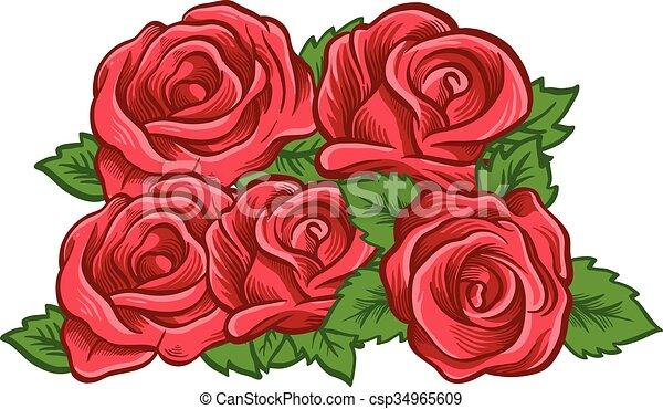 Beautiful rose. Vector illustration - csp34965609