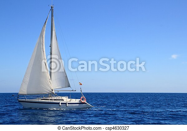 beautiful sailboat sailing sail blue Mediterranean - csp4630327