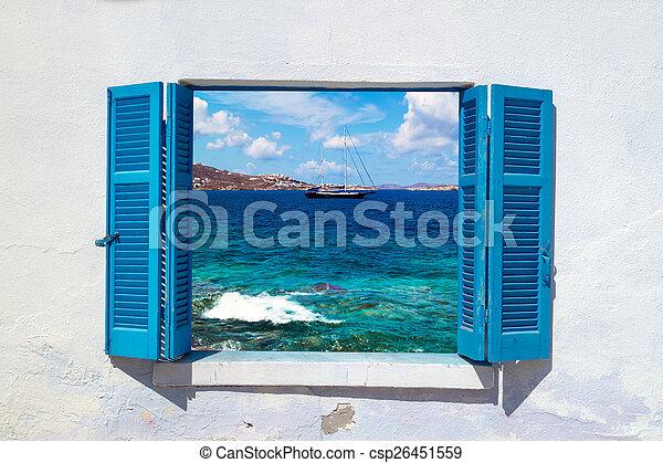 Beautiful sailboat sailing sail blue Mediterranean sea near Myko - csp26451559