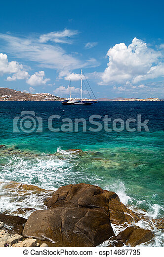 Beautiful sailboat sailing sail blue Mediterranean sea near Mykonos island, Greece - csp14687735
