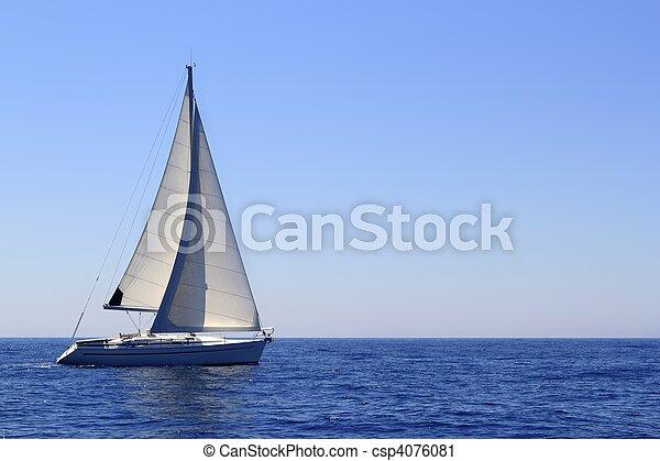 beautiful sailboat sailing sails blue Mediterranean - csp4076081