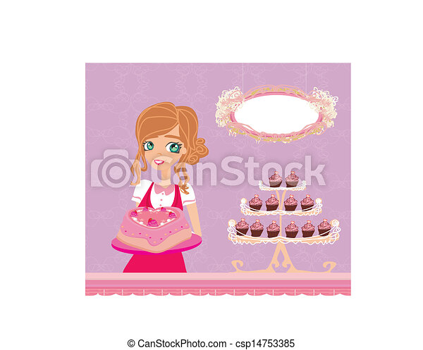 beautiful saleswoman in a bakery  - csp14753385
