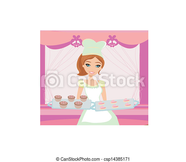 beautiful saleswoman in a bakery - csp14385171