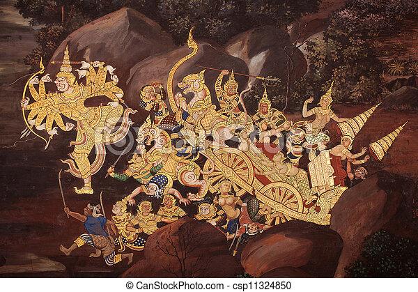 Beautiful Scene Painted at Grand Palace, Bangkok, Thailand - csp11324850