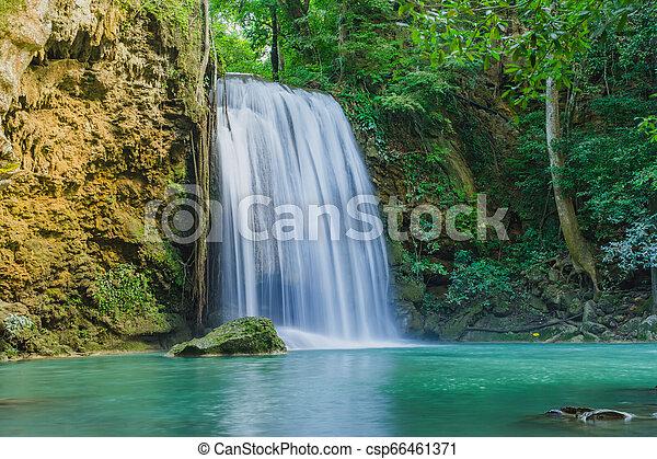Beautiful scenery of Erawan Waterfall in Kanchanaburi, Thailand. - csp66461371