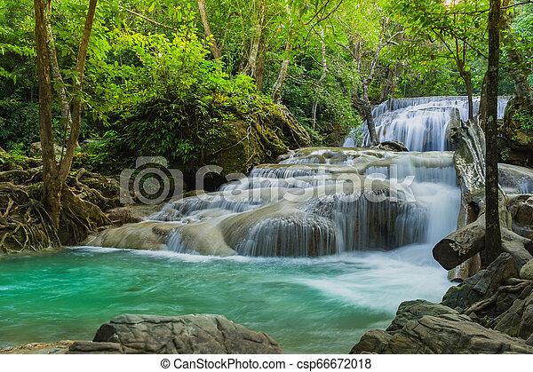 Beautiful scenery of Erawan Waterfall in Kanchanaburi, Thailand. - csp66672018