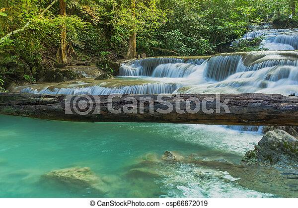 Beautiful scenery of Erawan Waterfall in Kanchanaburi, Thailand. - csp66672019