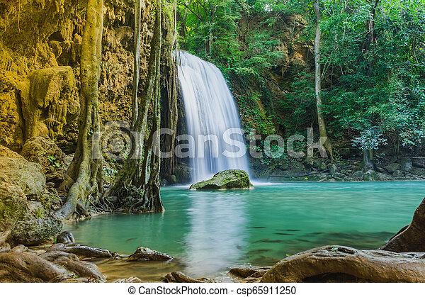 Beautiful scenery of Erawan Waterfall in Kanchanaburi, Thailand. - csp65911250