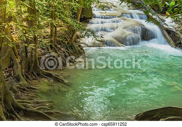 Beautiful scenery of Erawan Waterfall in Kanchanaburi, Thailand. - csp65911252