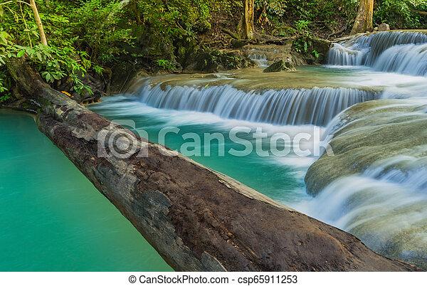 Beautiful scenery of Erawan Waterfall in Kanchanaburi, Thailand. - csp65911253