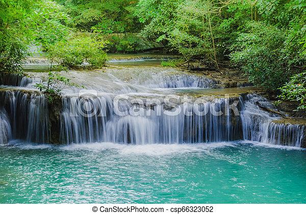 Beautiful scenery of Erawan Waterfall in Kanchanaburi, Thailand. - csp66323052