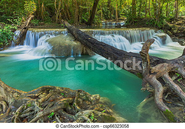 Beautiful scenery of Erawan Waterfall in Kanchanaburi, Thailand. - csp66323058
