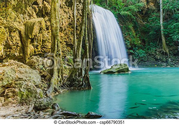 Beautiful scenery of Erawan Waterfall in Kanchanaburi, Thailand. - csp66790351