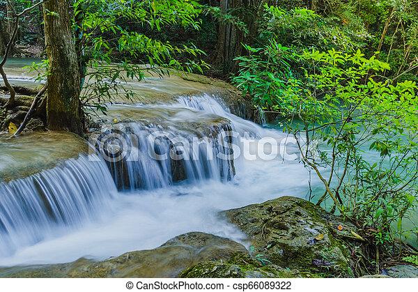 Beautiful scenery of Erawan Waterfall in Kanchanaburi, Thailand. - csp66089322