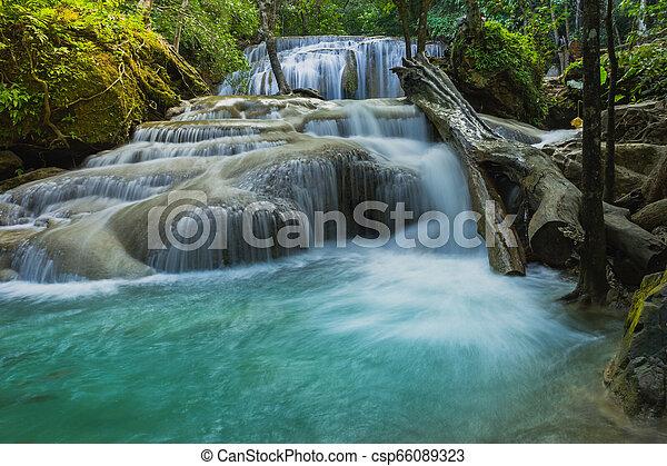 Beautiful scenery of Erawan Waterfall in Kanchanaburi, Thailand. - csp66089323