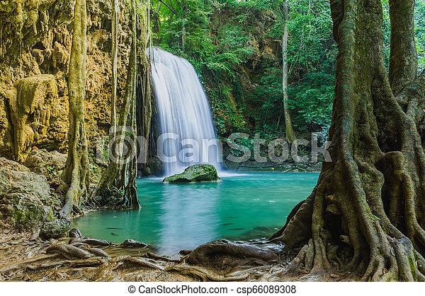Beautiful scenery of Erawan Waterfall in Kanchanaburi, Thailand. - csp66089308