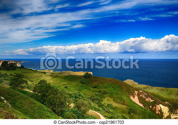 beautiful scenery with the ocean shore in Asturias, Spain - csp21961703