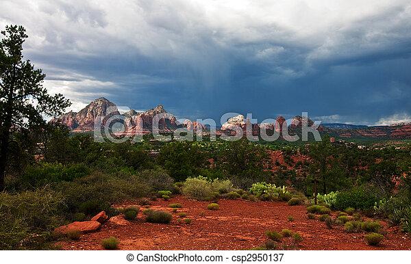 beautiful scenic red sandstone rock landscape - csp2950137