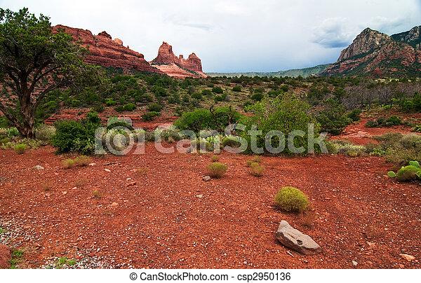 beautiful scenic red sandstone rock landscape - csp2950136