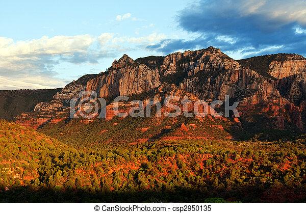 beautiful scenic red sandstone rock landscape - csp2950135
