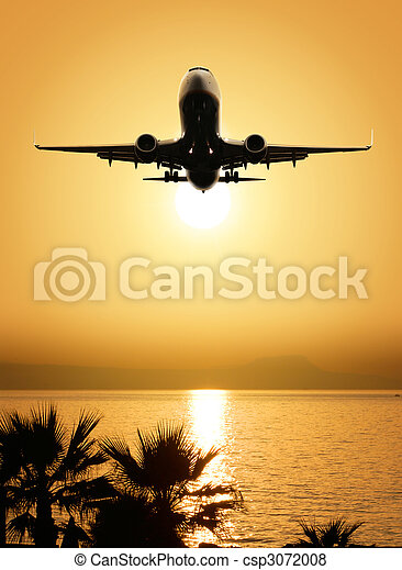 beautiful sea view and plane - csp3072008