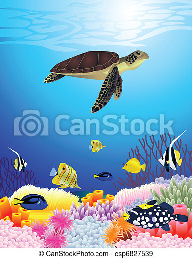 Beautiful sealife background - csp6827539