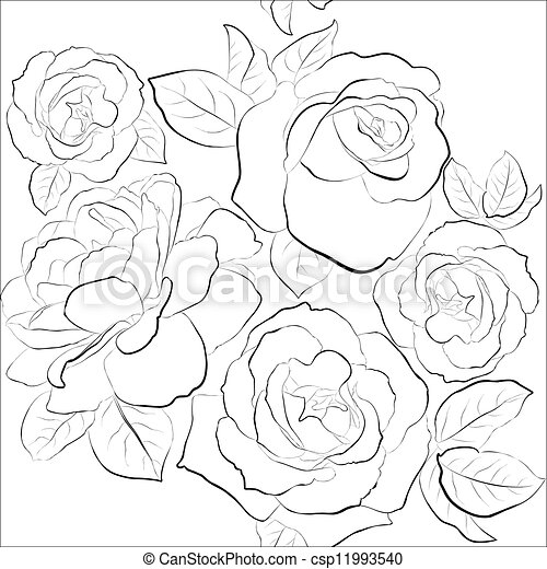 Beautiful seamless background with roses - csp11993540