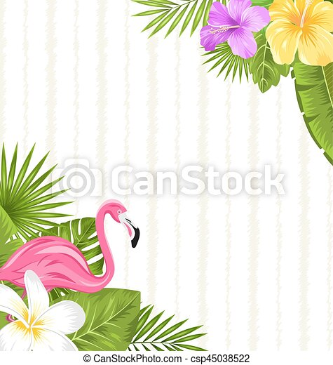 Beautiful seamless floral pattern background with pink flamingo beautiful seamless floral pattern background with pink flamingo tropical flowers and plants csp45038522 mightylinksfo