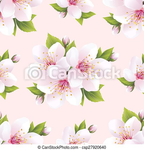 Beautiful seamless pattern with flowers sakura - csp27920640