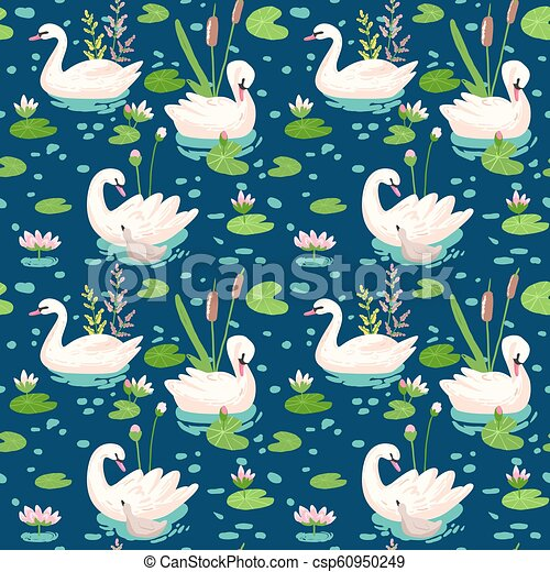 Beautiful Seamless Pattern With White Swans And Water Lillies Use For Baby Background Textile Prints Covers Wallpaper Posters Vector