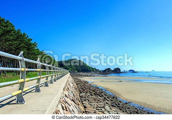 Beautiful seascape and blue sky. - csp34477622