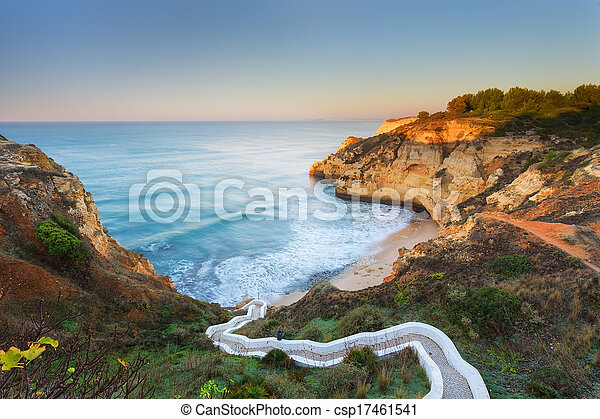 Beautiful seascape bay with serpentine steps. Portugal, Carvoeiro. - csp17461541