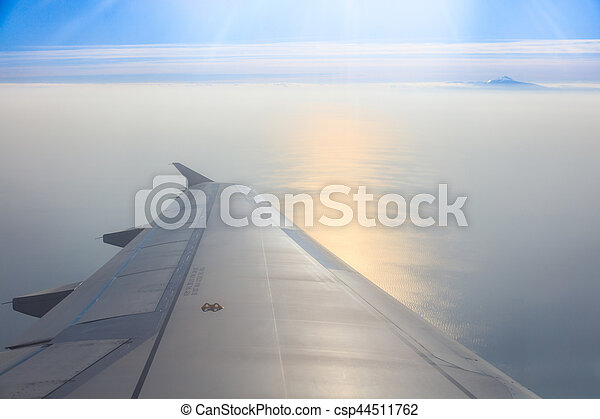 Beautiful seascape from an airplane window - csp44511762