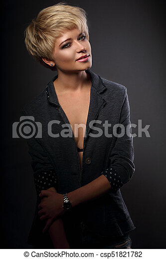 Beautiful Serious Sexy Woman With Short Bob Blond Hairstyle In Suit